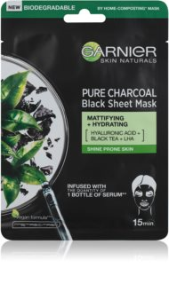 Garnier Skin Naturals Pure Charcoal  máscara em tecido preto com extrato de chá preto
