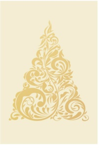 Giftino      Kerstkaart Golden Tree  zonder Text  (A6)