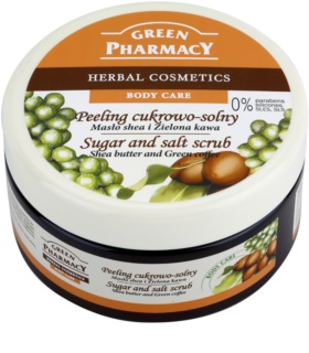Green Pharmacy Body Care Shea Butter & Green Coffee peeling cu zahar si sare
