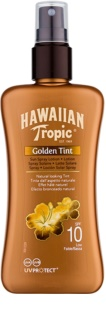 Hawaiian Tropic Golden Tint védő testtej spray formában SPF 10