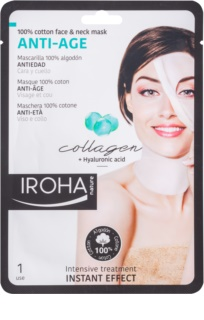Iroha Anti - Age Collagen maschera in cotone per viso e collo con collagene e siero ialuronico