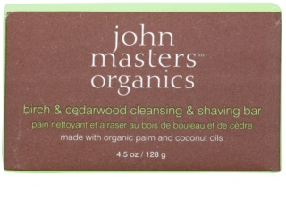 John Masters Organics Birch & Cedarwood Cleansing & Shaving Bar Multi-Purpose Soap for Men and Women