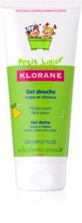 Klorane Junior душ гел за тяло и коса с аромат на круша