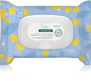 Klorane Bébé Calendula toalhitas suaves de limpeza para bebés 0+