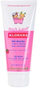 Klorane Petit Junior душ гел за тяло и коса с аромат на малини