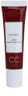 Korres Face Wild Rose rozświetlający krem CC SPF 30
