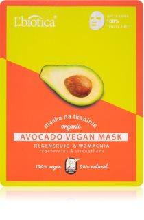 L'biotica Vegan Organic Avocado maska iz platna z regeneracijskim učinkom