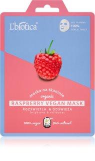 L'biotica Vegan Organic Raspberry revitalizacijska tekstilna maska