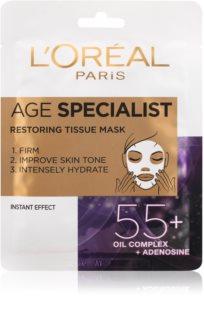 L'Oréal Paris Age Specialist 55+ plátýnková maska pro intenzivní vypnutí a rozjasnění pleti