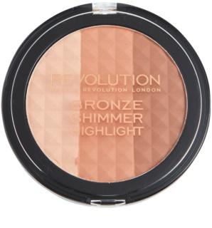 Makeup Revolution Ultra Bronze Shimmer HIghlight puder brązujący i rozświetlający