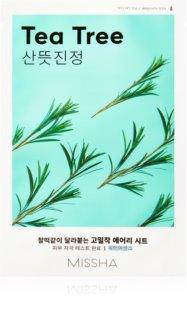 Missha Airy Fit Tea Tree maschera in tessuto detergente e rinfrescante per pelli sensibili