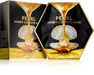 Missha Honey Compote Mask Pearl máscara em película para a pele mais revitalizada e radiante 5 pçs