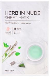 Missha Herb in Nude szövet arcmaszk tisztító hatással