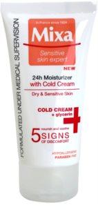 MIXA 24 HR Moisturising зволожуючий поживний крем для заспокоєння та зміцнення чутливої шкіри