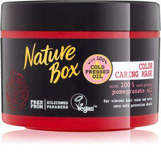 Nature Box Pomegranate θρεπτική και ενυδατική μάσκα μαλλιών για την προστασία του χρώματος