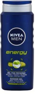 Nivea Men Energy gel de duche para rosto, corpo e cabelo
