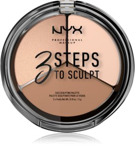 NYX Professional Makeup 3 Steps To Sculpt Krémes highlight és kontúr paletta