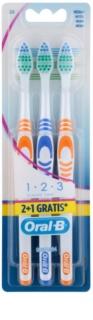 Oral B 1-2-3 Classic Care cepillo de dientes medio 3 uds
