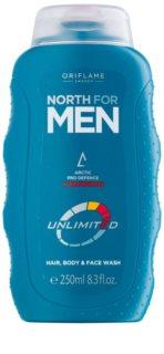 Oriflame North For Men tusfürdő gél  arcra, testre és hajra