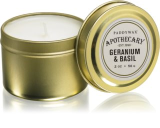 Paddywax Apothecary Geranium & Basil duftkerze  in blechverpackung