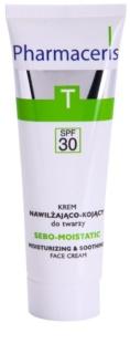 Pharmaceris T-Zone Oily Skin Sebo-Moistatic crème hydratante et apaisante pour peaux sèches et irritées après un traitement anti-acné