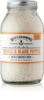 Scottish Fine Soaps Men's Grooming Thistle & Black Pepper pomirjajoča sol za kopel za moške