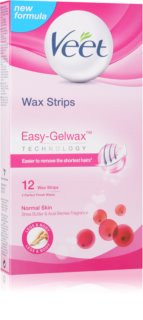 Veet Wax Strips strisce depilatorie con cera con burro di karité e aroma di bacche