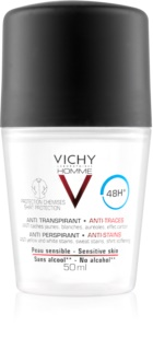 Vichy Homme Deodorant déodorant roll-on anti-traces blanches et jaunes 48h