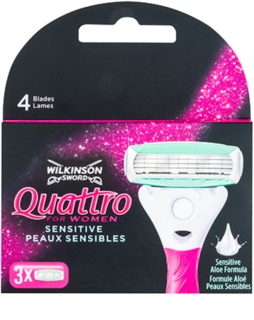 Wilkinson Sword Quattro for Women Sensitive zapasowe ostrza 3 szt.
