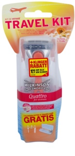 Wilkinson Sword Quattro for Women Papaya & Pearl ξυριστική μηχανή + 2 ανταλλακτικές κεφαλές συσκευασία ταξιδίου