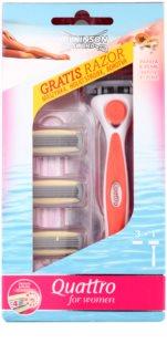 Wilkinson Sword Quattro for Women Papaya & Pearl Rasierer Ersatzklingen 3 pc