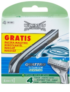 Wilkinson Sword Quattro Titanium Sensitive Replacement Blades 4 pcs + holder