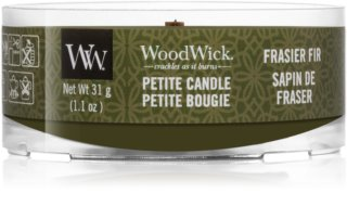Woodwick Frasier Fir candela votiva 31 g con stoppino in legno