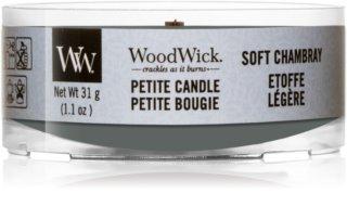 Woodwick Soft Chambray votívna sviečka s dreveným knotom