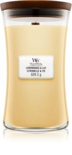Woodwick Lemongrass & Lily ароматизована свічка  609,5 гр з дерев'яним гнітом
