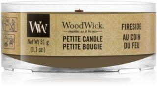 Woodwick Fireside candela votiva 31 g con stoppino in legno