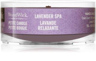 Woodwick Lavender Spa votívna sviečka 31 g s dreveným knotom