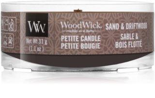 Woodwick Sand & Driftwood mala mirisna svijeća s drvenim fitiljem