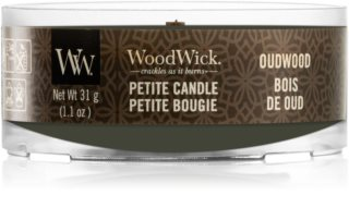 Woodwick Oudwood candela votiva con stoppino in legno
