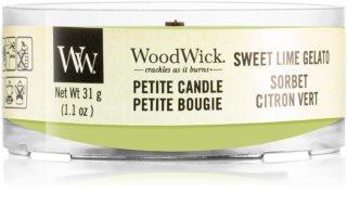 Woodwick Sweet Lime Gelato sampler z drewnianym knotem