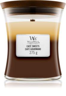 Woodwick Trilogy Café Sweets ароматна свещ  275 гр. с дървен фитил