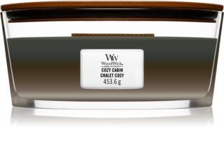 Woodwick Trilogy Cozy Cabin vonná svíčka s dřevěným knotem (hearthwick)