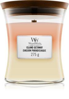 Woodwick Trilogy Island Getaway vela perfumada  275 g con mecha de madera