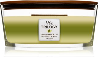 Woodwick Trilogy Garden Oasis lumânare parfumată  453,6 g cu fitil din lemn (Hearthwick)