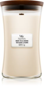 Woodwick White Tea & Jasmine ароматна свещ  с дървен фитил