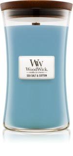 Woodwick Sea Salt & Cotton vela perfumada  609,5 g con mecha de madera