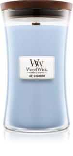 Woodwick Soft Chambray dišeča sveča  609,5 g velika