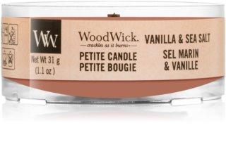 Woodwick Vanilla & Sea Salt candela votiva con stoppino in legno