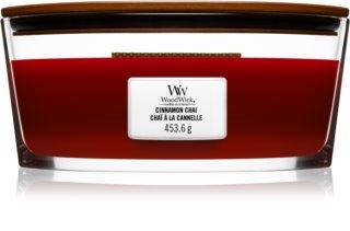 Woodwick Cinnamon Chai ароматна свещ  453,6 гр. с дървен фитил (Hearthwick)