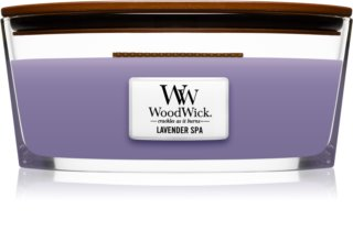 Woodwick Lavender Spa świeczka zapachowa  453,6 g z drewnianym knotem (Hearthwick)